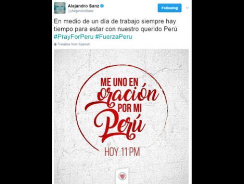 Alejandro Sanz, Dulce María de RBD y otros artistas que se solidarizaron con Perú por las lluvias