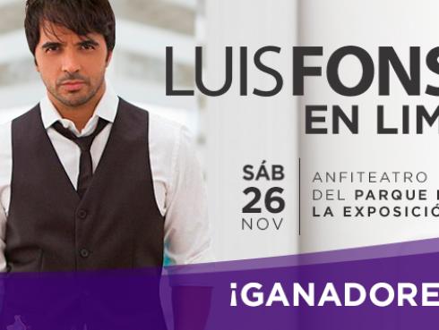 Conoce a los ganadores de las 15 entradas dobles para ver a Luis Fonsi en concierto