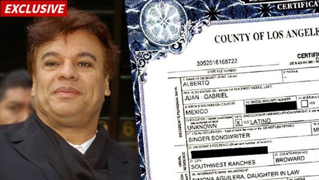 Acta de defunción de Juan Gabriel revela una causa de muerte desconocida hasta ahora
