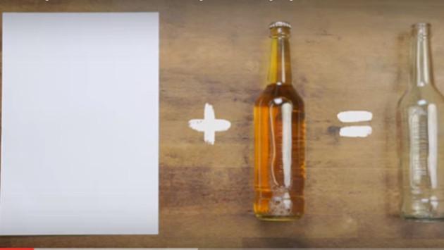 Aprende a destapar una botella usando una hoja de papel