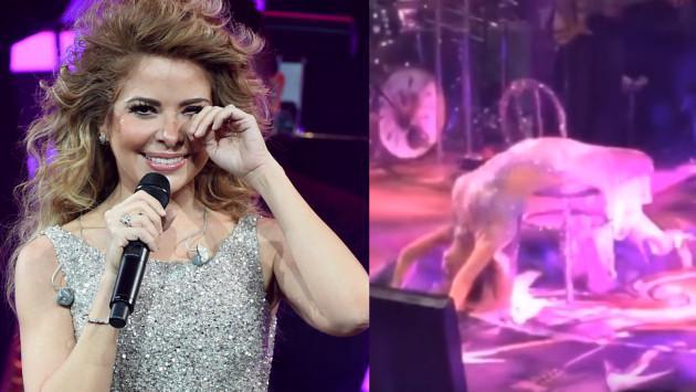 Gloria Trevi sufre aparatosa caída en concierto