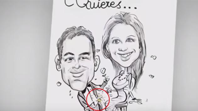 La caricatura de una pedida de mano muy especial