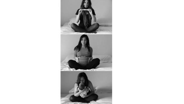 ¡Mira estas singulares, creativas y tiernas fotos del antes y después de un embarazo!
