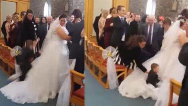 Niño se lanza sobre vestido de novia y se convierte en viral