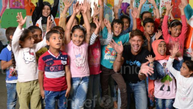 Ricky Martin viajó al Líbano para reunirse con niños refugiados del conflicto de Siria