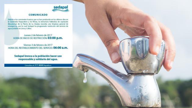 Sedapal restringirá el servicio de agua potable para Lima y Callao
