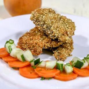 Delicioso y crujiente pescado con quinua